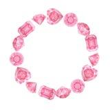 Рамка розовых диамантов акварели круглая Стоковая Фотография