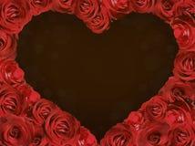 Рамка роз в форме сердца Стоковое Изображение RF