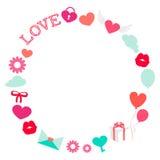 Рамка романтичной влюбленности дня валентинки круглая плоская иллюстрация вектора