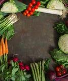 Рамка свежих весенних овощей Стоковое Изображение