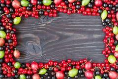 Рамка свежих ягод на деревянной предпосылке Стоковая Фотография