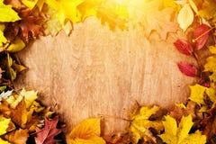 Рамка сделанная из листьев падения на древесине крупный план предпосылки осени красит красный цвет листьев плюща померанцовый стоковые изображения rf