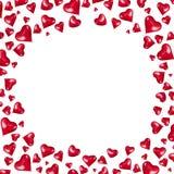 Рамка сделанная красных сердец сформировала воздушные шары на белой изолированной предпосылке, Стоковые Фото