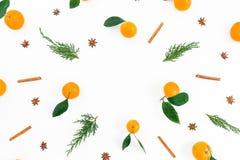 Рамка сделанная цитрусовых фруктов, циннамона и ветвей ели на белой предпосылке Плоское положение Взгляд сверху Стоковые Фотографии RF