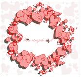 Рамка сердец круглая Стоковое Изображение
