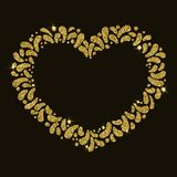 Рамка сердца золота вектора праздничная Орнамент блестящих падений Для масленицы, фестиваль, тема влюбленности, пары, дня valinti стоковое фото rf