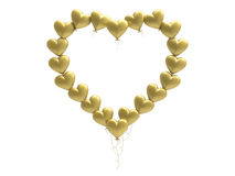 рамка сердец воздушного шара золота иллюстрации 3D Стоковое Фото