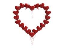 рамка сердец воздушного шара иллюстрации 3D красная Стоковое фото RF
