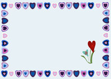 Рамка сердец на голубой предпосылке Иллюстрация штока