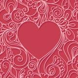 Рамка сердца на красной предпосылке картина шнурка безшовная Стоковое фото RF