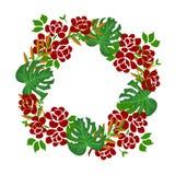 Рамка сети круглая с зелеными листьями Концепция руки покрасила зеленую листву воодушевленный растительностью сада и plats декора иллюстрация вектора
