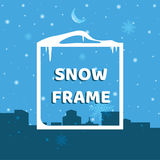 Рамка снега на предпосылке города зимы Стоковая Фотография RF