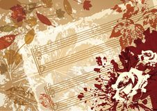Рамка стиля предпосылки вектора музыки осени ретро иллюстрация вектора