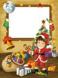 Рамка счастливого рождеств - граница - иллюстрация для детей Стоковые Фотографии RF