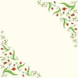 Рамка с абстрактными красными цветками Стоковая Фотография
