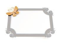 Рамка с бабочкой для фото на белой предпосылке 3d Стоковые Изображения RF