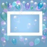Рамка с воздушными шарами на голубой предпосылке иллюстрация вектора
