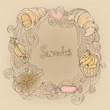 Рамка с десертами Стоковое Изображение RF