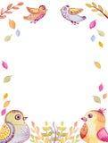 Рамка с летящими птицами и листьями акварели смешными иллюстрация штока