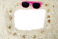 Рамка сделанная из белого песка пляжа Стоковое фото RF