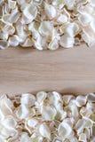 Рамка сделанная из лепестков белой розы на деревянной предпосылке с космосом для вашего текста Стоковые Фотографии RF
