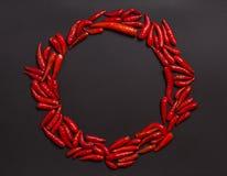 Рамка сделанная из перца chili глаза птицы не-стержня красного Стоковое Изображение