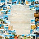 Рамка сделанная из старых поляроидных фото на древесине стоковое фото