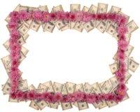 Рамка сделанная от доллара и цветков Стоковое Изображение RF