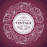 Рамка сделанная по образцу годом сбора винограда Флористический мотив в круге состав цветков, бутонов, листьев и хворостин в стил Стоковые Изображения RF