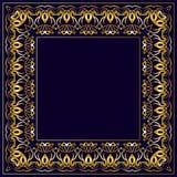Рамка с картиной золота на голубой предпосылке Стоковое фото RF