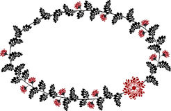 Рамка с красными и черными цветками в форме Стоковая Фотография