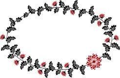 Рамка с красными и черными цветками в форме o Стоковое фото RF