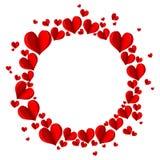 Рамка с красными сердцами на белой предпосылке Стоковое Изображение