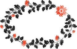 Рамка с красными цветками в форме венка Стоковые Изображения RF