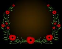 Рамка с красным маком Вторая Мировая Война, коммеморативный символ бесплатная иллюстрация