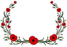Рамка с красным маком Вторая Мировая Война, коммеморативный символ иллюстрация штока