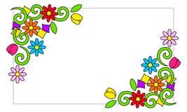Рамка с красочными цветками иллюстрация штока