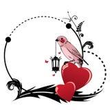 Рамка с птицей и сердцем Стоковое фото RF