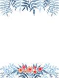 Рамка с светом акварели - голубыми папоротниками и маленькими цветками иллюстрация вектора