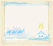 Рамка с традиционной христианской сценой рождества рождества Стоковое Изображение
