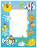 Рамка с тропическими рыбами иллюстрация штока