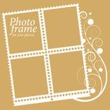 Рамка с флористическими элементами для 4 фото. вектор Стоковое Фото