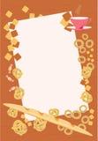 Рамка с хлебом, плюшками, бейгл, круассанами, печеньями, помадками и чашкой чаю Стоковые Фото