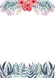 Рамка с цветками акварели тропическими и листьями сини бесплатная иллюстрация