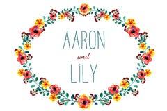 Рамка с цветками и листьями, рисуя акварелью Весна или дизайн лета для приглашения, wedding поздравительных открыток Иллюстрация вектора