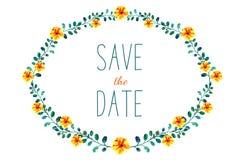 Рамка с цветками и листьями, рисуя акварелью Весна или дизайн лета для приглашения, wedding поздравительных открыток Иллюстрация штока