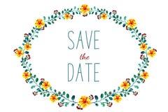 Рамка с цветками и листьями, рисуя акварелью Весна или дизайн лета для приглашения, wedding поздравительных открыток Бесплатная Иллюстрация