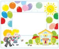 Рамка с школьниками и школой Стоковое Изображение RF