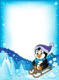 Рамка 1 темы пингвина Sledging иллюстрация штока