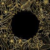 Рамка тропического золота круглая Стоковое Фото